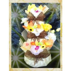 出産祝い♪3段お花のおむつケーキ(オムツケーキ)男女♪イエロー☆Sテープ☆送料無料|mi-mama-yuu