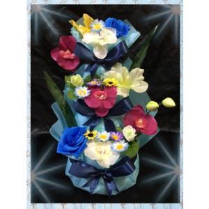 出産祝い♪3段お花のおむつケーキ(オムツケーキ)♪ブルー男の子☆Sテープ☆送料無料|mi-mama-yuu