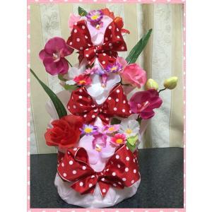 出産祝い♪3段お花のおむつケーキ(オムツケーキ)女の子♪ピンク☆Sテープ☆送料無料|mi-mama-yuu