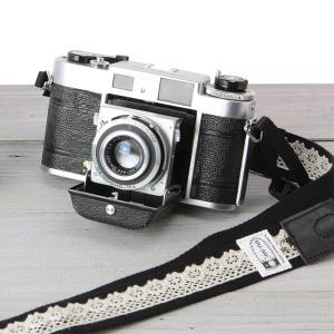 カメラストラップ camera strap 一眼レフ ミラーレス一眼用 レースブラック|mi-na