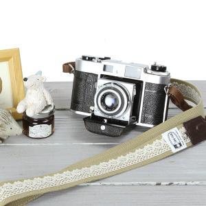 カメラストラップ camera strap 一眼レフ ミラーレス一眼用 レースベージュ|mi-na