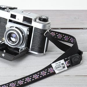 カメラストラップ camera strap 一眼レフ ミラーレス一眼用 チロリアン カレイドスコープスミレ 細め
