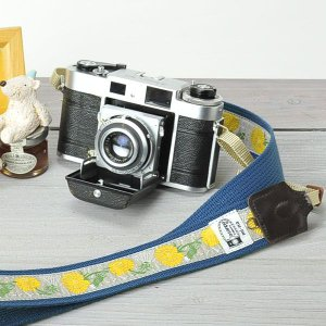 カメラストラップ camera strap 一眼レフ ミラーレス一眼用 カフカリボン わたげとたんぽぽ|mi-na