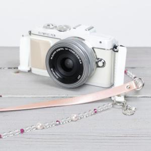 カメラストラップ camera strap 一眼レフ ミラーレス一眼用 ピンクコットンキャンディ|mi-na