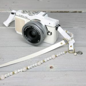 カメラストラップ camera strap 一眼レフ ミラーレス一眼用 クリームパール mi-na