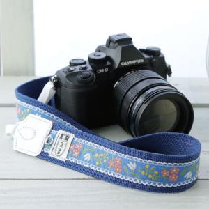 カメラストラップ camera strap 一眼レフ ミラーレス一眼用 ドリーミーブルーフラワー|mi-na