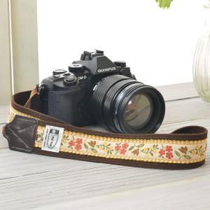 カメラストラップ camera strap 一眼レフ ミラーレス一眼用 ノスタルジックオレンジフラワー|mi-na