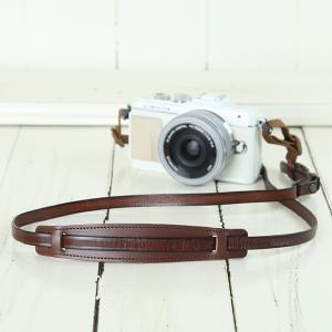 カメラストラップ camera strap 一眼レフ ミラーレス一眼用 イタリアンレザーのカメラストラップ camera strap 本革/ストライプブラウン|mi-na
