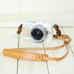 カメラストラップ camera strap 一眼レフ ミラーレス一眼用 イタリアンレザーのカメラストラップ camera strap 本革/サークルベージュ|mi-na