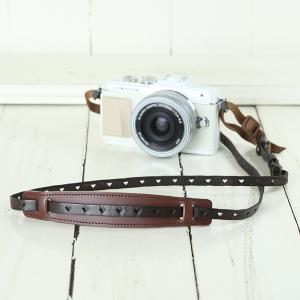 カメラストラップ camera strap 一眼レフ ミラーレス一眼用 イタリアンレザーのカメラストラップ camera strap 本革/ハートブラウン|mi-na