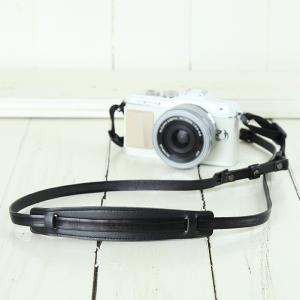 カメラストラップ camera strap 一眼レフ ミラーレス一眼用 イタリアンレザーのカメラストラップ camera strap 本革/ストライプブラック|mi-na