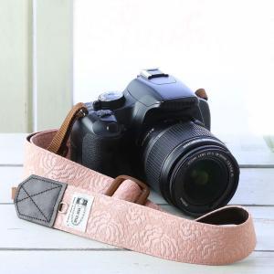 カメラストラップ camera strap 一眼レフ ミラーレス一眼用 コーラルレディーローズ 3.5cm幅フリータイプ|mi-na