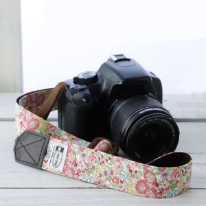 カメラストラップ camera strap 一眼レフ ミラーレス一眼用 フラワーガーデンピンク 3.5cm幅フリータイプ|mi-na