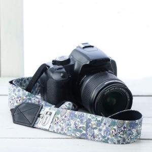カメラストラップ camera strap 一眼レフ ミラーレス一眼用 フラワーガーデンブルー 3.5cm幅フリータイプ|mi-na