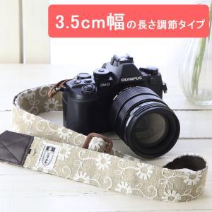 カメラストラップ camera strap 一眼レフ ミラーレス一眼用 Flower Embroidery Linen 3.5cm幅フリータイプ|mi-na