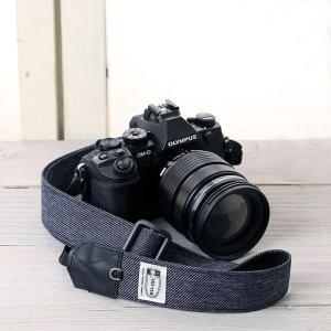カメラストラップ camera strap 一眼レフ ミラーレス一眼用 撥水ダークネイビー杢デニム 3.5cm幅フリータイプ|mi-na
