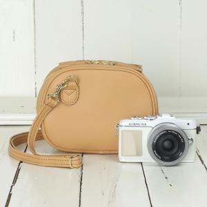 カメラバッグ camera bag オールレザーカメラポシェット/ハニーキャラメル mi-na