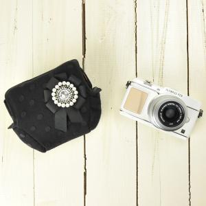 カメラケース camera case カメラのお洋服 セパレート/ビーズロゼットパールブラック|mi-na