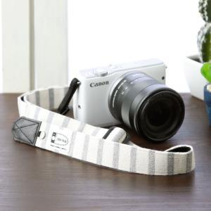Canon M100 Kiss M対応 カメラストラップ/取付8mm幅【フリータイプ】/ナチュラルベーシックボーダー|mi-na