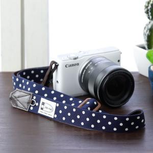 Canon M100 Kiss M対応 カメラストラップ/取付8mm幅【フリータイプ】/ダークネイビードット|mi-na