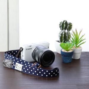 Canon M100 Kiss M対応 カメラストラップ/取付8mm幅【フリータイプ】/ダークネイビードット|mi-na|02
