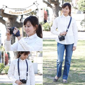 Canon M100 Kiss M対応 カメラストラップ/取付8mm幅【フリータイプ】/ダークネイビードット|mi-na|05