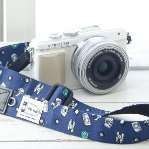 カメラストラップ camera strap 一眼レフ ミラーレス一眼用 みんなでカメラネイビー フリータイプ|mi-na