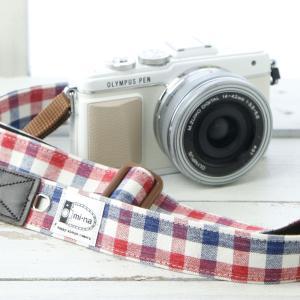 カメラストラップ camera strap 一眼レフ ミラーレス一眼用 トリコロールチェック フリータイプ|mi-na