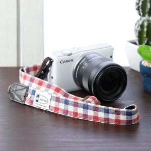 Canon M100 Kiss M対応 カメラストラップ/取付8mm幅【フリータイプ】/トリコロールチェック|mi-na