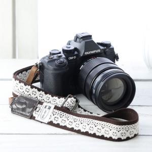 カメラストラップ camera strap 一眼レフ ミラーレス一眼用 レースブラウン フリータイプ mi-na