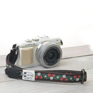 カメラストラップ camera strap 一眼レフ ミラーレス一眼用 レトロローズ フリータイプ|mi-na