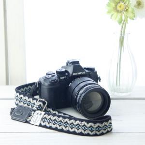 カメラストラップ camera strap 一眼レフ ミラーレス一眼用 ジグザグブルーブラック フリータイプ mi-na