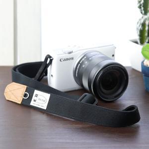 Canon M100 Kiss M対応 カメラストラップ/取付8mm幅【フリータイプ】/帆布 ブラック|mi-na