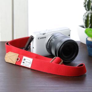 Canon M100 Kiss M対応 カメラストラップ/取付8mm幅【フリータイプ】/帆布 レッド|mi-na