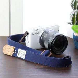 Canon M100 Kiss M対応 カメラストラップ/取付8mm幅【フリータイプ】/帆布 ネイビー|mi-na