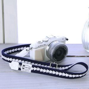 カメラストラップ camera strap 一眼レフ ミラーレス一眼用 シンプルラインフラワーネイビー フリータイプ|mi-na