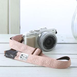カメラストラップ camera strap 一眼レフ ミラーレス一眼用 コーラルレディーローズ フリータイプ|mi-na
