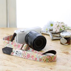 Canon M100 Kiss M対応 カメラストラップ/取付8mm幅【フリータイプ】/フラワーガーデンピンク|mi-na