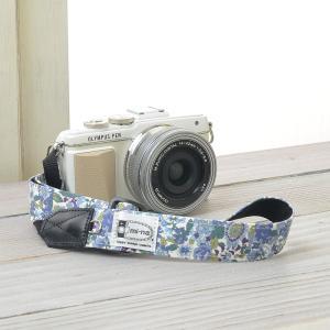 Canon M100 Kiss M対応 カメラストラップ/取付8mm幅【フリータイプ】/フラワーガーデンブルー|mi-na