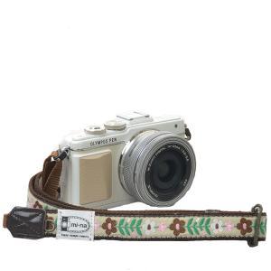 カメラストラップ camera strap 一眼レフ ミラーレス一眼用 北欧風レトロフロ―ラル ベージュ フリータイプ mi-na
