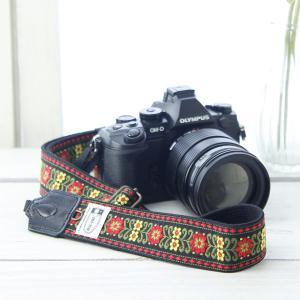 カメラストラップ camera strap 一眼レフ ミラーレス一眼用 チロルフラワー ブラック フリータイプ mi-na