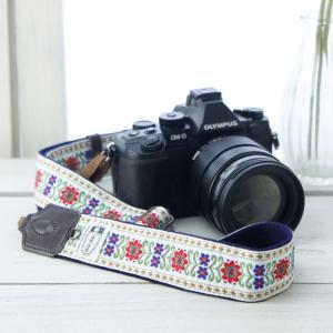 カメラストラップ camera strap 一眼レフ ミラーレス一眼用 チロルフラワー ホワイト フリータイプ mi-na