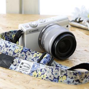 Canon M100 Kiss M対応 カメラストラップ/取付8mm幅【フリータイプ】/[LIBERTY] グレイブルーフローラル|mi-na