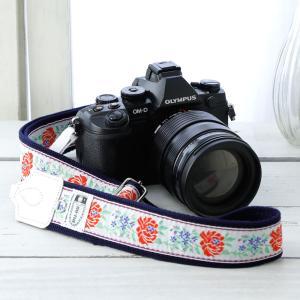 カメラストラップ camera strap 一眼レフ ミラーレス一眼用 東欧風トラディショナルフラワーホワイト フリータイプ mi-na