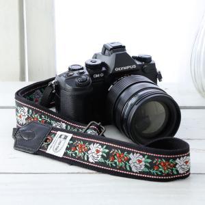 カメラストラップ camera strap 一眼レフ ミラーレス一眼用 東欧風トラディショナルフラワーブラック フリータイプ mi-na