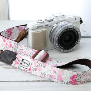 カメラストラップ camera strap 一眼レフ ミラーレス一眼用 White berry field フリータイプ|mi-na