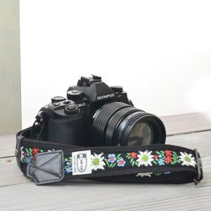 カメラストラップ camera strap 一眼レフ ミラーレス一眼用 エーデルブルーメ ブラック ...