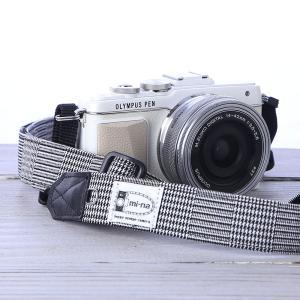 カメラストラップ camera strap 一眼レフ ミラーレス一眼用 グレンチェック フリータイプ