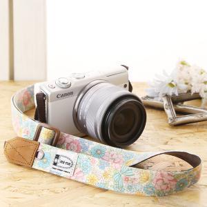 Canon M100 Kiss M対応 カメラストラップ/取付8mm幅【フリータイプ】/カラフルリボンフラワー|mi-na