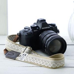 カメラストラップ camera strap 一眼レフ ミラーレス一眼用 レースベージュ フリータイプ|mi-na